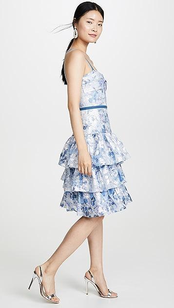 Marchesa Notte Металлизированное платье без рукавов