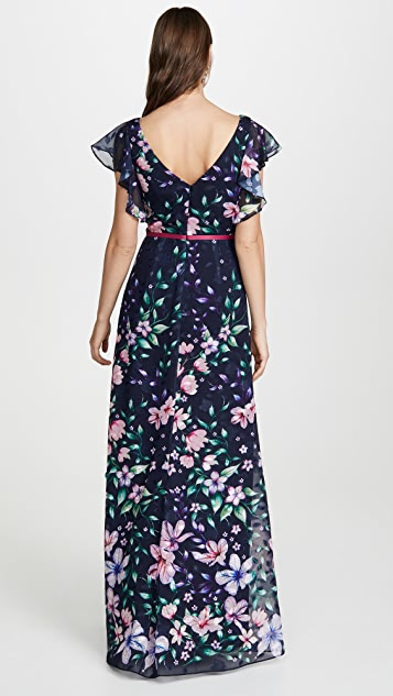 Marchesa Notte Printed Burnout Chiffon Gown