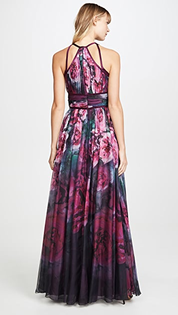 Marchesa Notte Sleeveless Chiffon Gown