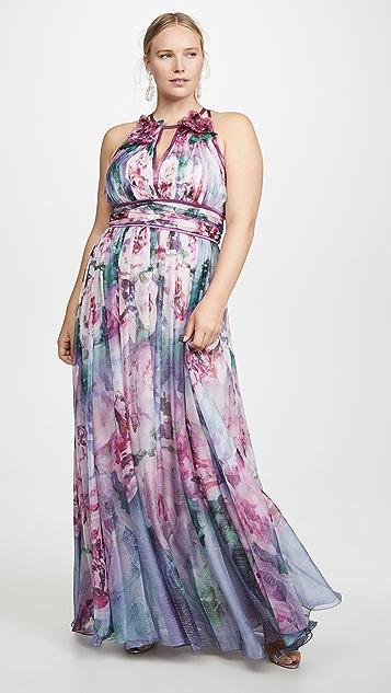 Marchesa Notte Шифоновое вечернее платье без рукавов