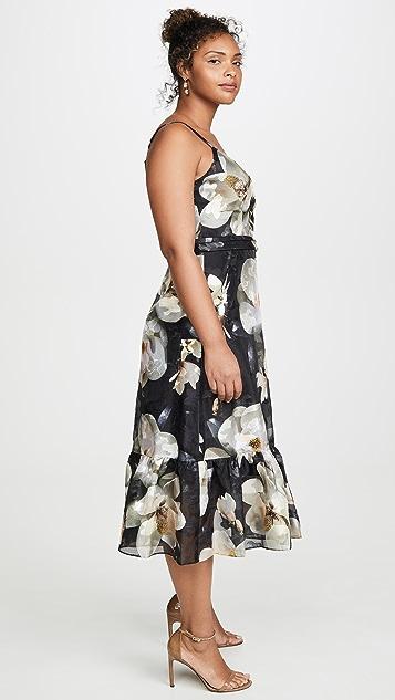 Marchesa Notte Ruffle Hem Cocktail Dress