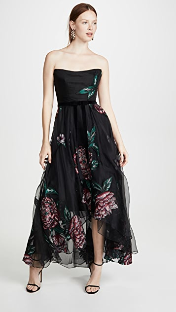 Marchesa Notte Strapless Embroidered Organza Tea Length Gown
