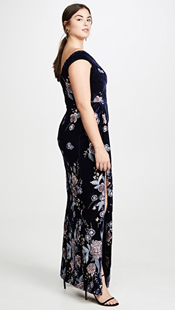Marchesa Notte Off the Shoulder Velvet Embroidered Gown
