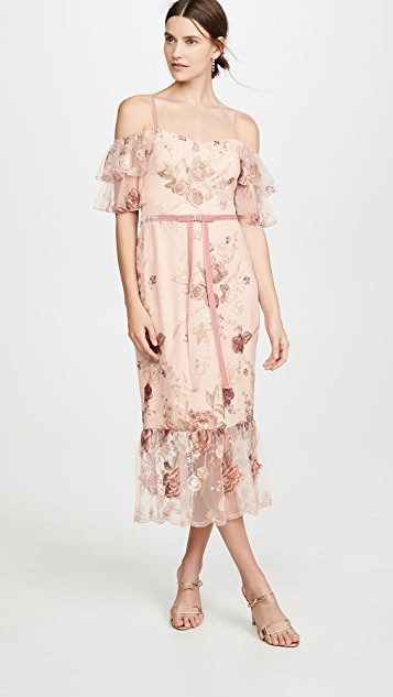 Marchesa Notte Off the Shoulder Tiered Sleeve Embroidered Tea-Length Gown