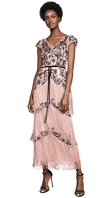 Marchesa Notte Cap Sleeve Embroidered Fringe Gown