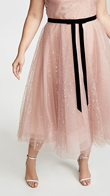 Marchesa Notte Glitter Tulle Tea Length Gown