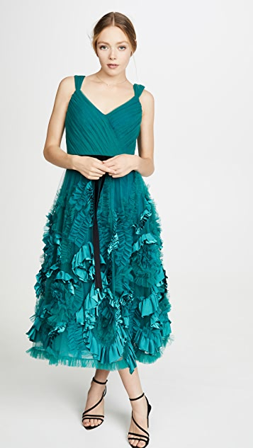 Marchesa Notte 混合材质无袖纹理薄纱过膝礼服