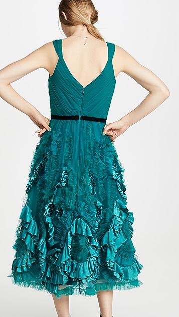 Marchesa Notte 无袖混合材质纹理过膝礼服