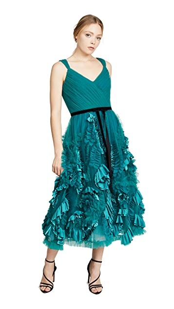 Marchesa Notte Sleeveless Mixed Media Textured Tea-Length Gown