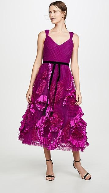 Marchesa Notte Sleeveless Mixed Media Textured Tea-Length Gown