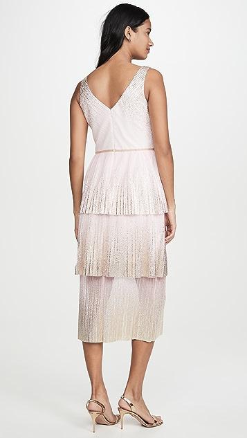 Marchesa Notte V Neck Dress