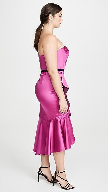 Marchesa Notte Коктейльное платье с вырезом сердечком без бретелек с драпировкой