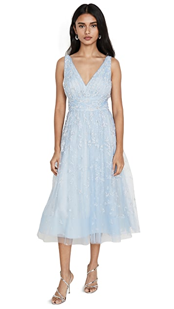 Marchesa Notte Sleeveless Tulle Tea Length Gown