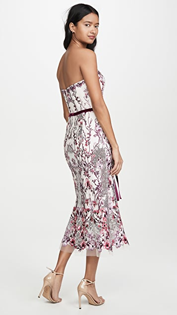 Marchesa Notte Strapless Sequin Embroidered Gown