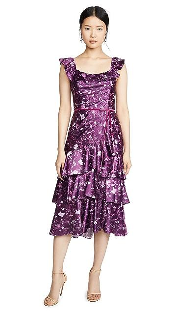 Marchesa Notte Коктейльное платье без рукавов из шармеза с принтом