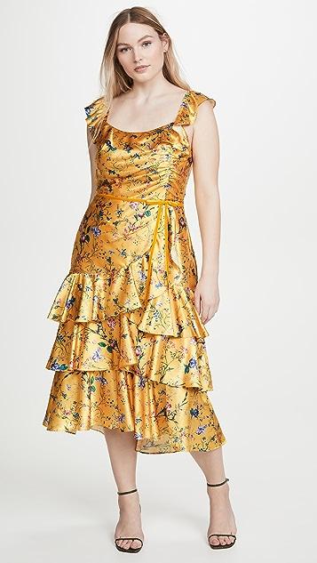 Marchesa Notte Многоуровневое коктейльное платье из шармеза с принтом без рукавов
