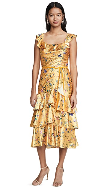 Marchesa Notte Sleeveless Printed Charmeuse Tiered Cocktail Dress