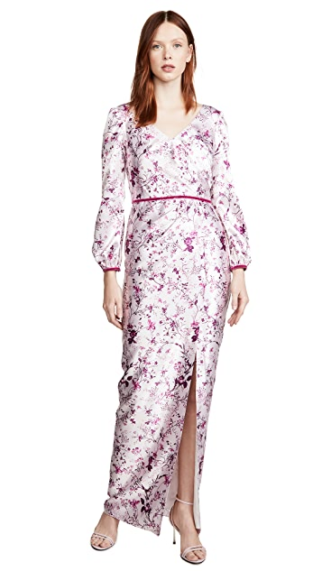 Marchesa Notte Bishop Sleeve Printed Charmeuse Gown