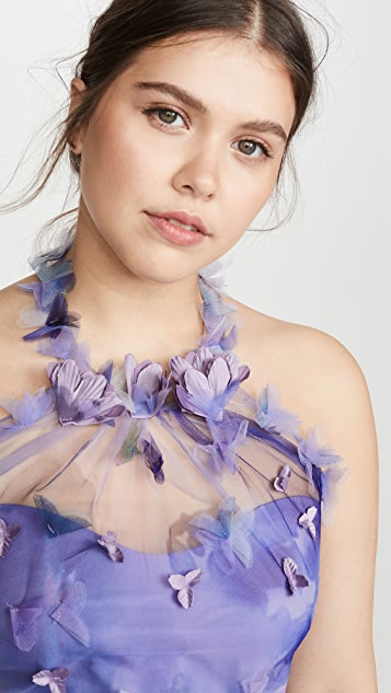 Marchesa Notte Sleeveless Tulle Halter Dress