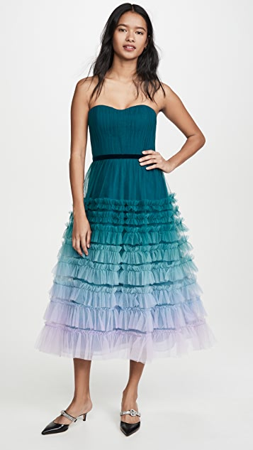 Marchesa Notte Strapless Ombre Tea Length Gown