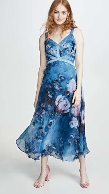 Marchesa Notte Dresses Sleeveless Organza Gown with 3D Flowers