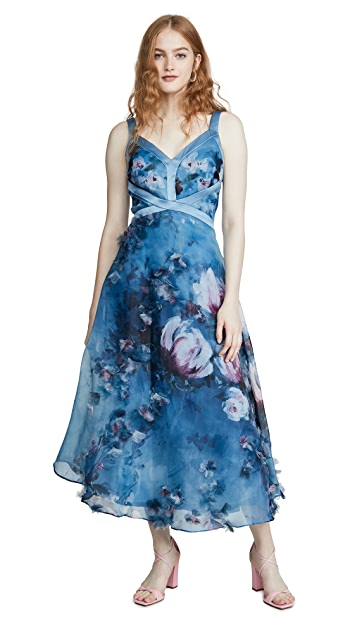 Marchesa Notte Sleeveless Organza Gown with 3D Flowers