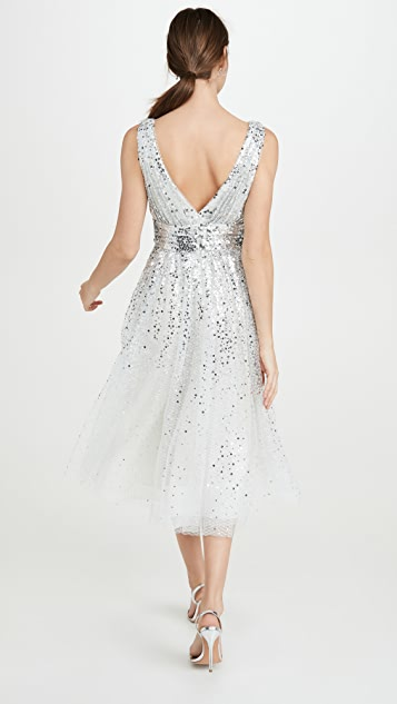 Marchesa Notte Sleeveless V Neck Degrade Sequin Gown Tea Length