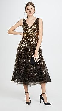 V Neck Degrade Sequin Gown
