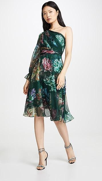 Marchesa Notte Коктейльное платье с принтом и открытым плечом