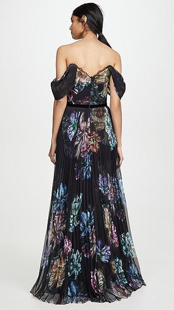 Marchesa Notte Вечернее платье с открытыми плечами из ткани шармез и шифона с принтом