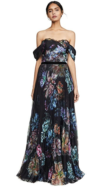 Marchesa Notte Off the Shoulder Printed Chiffon and Charmeuse Gown