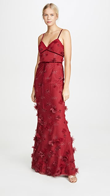 Marchesa Notte Metallic Embroidered Fit and Flare Gown