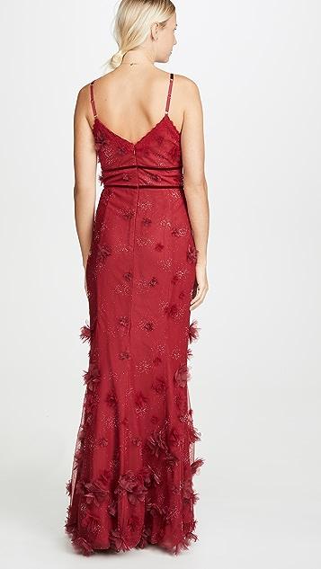Marchesa Notte Металлизированное вечернее платье-солнце с вышивкой