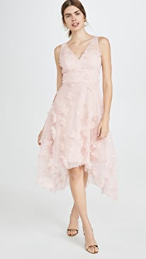 Sleeveles Metallic Embroidered Cocktail Dress