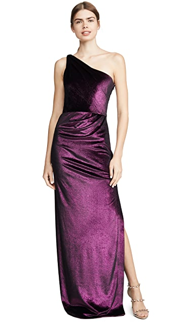 Marchesa Notte One Shoulder Draped Gown