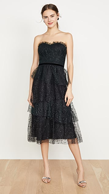 Marchesa Notte Dresses Strapless Glitter Tulle Gown