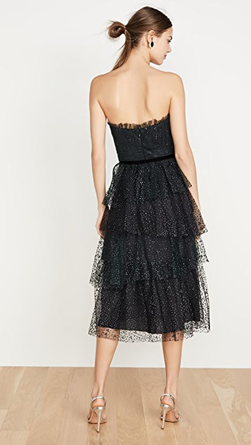 Marchesa Notte Strapless Glitter Tulle Gown