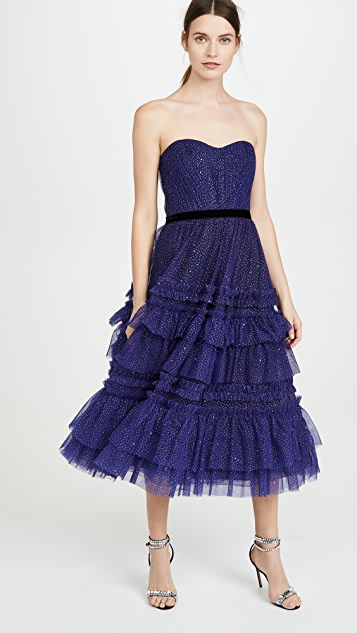 Marchesa Notte Strapless Tulle Gown