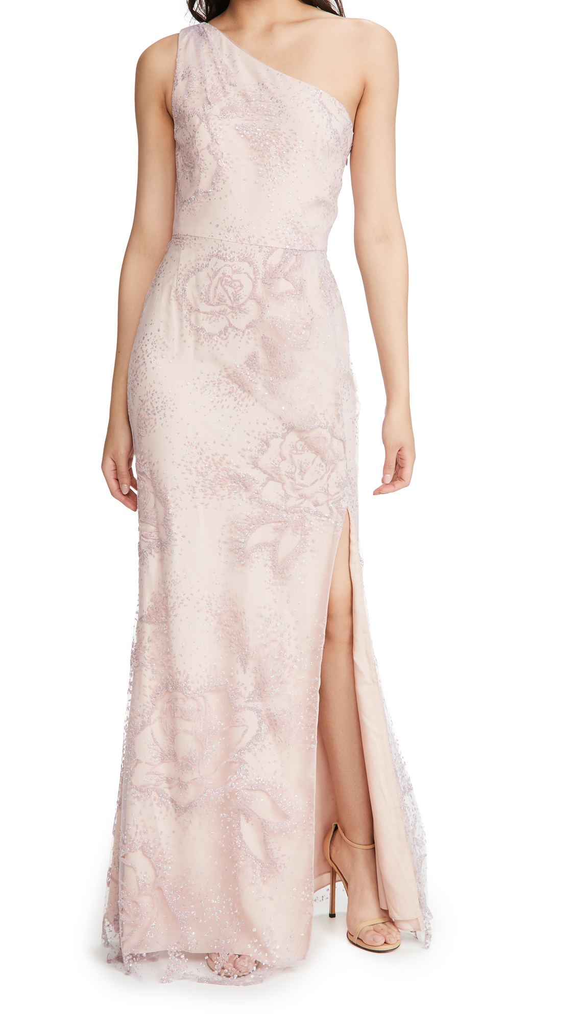 Marchesa Notte One Shoulder Flocked Glitter Tulle Gown