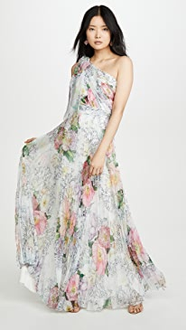 One Shoulder Chiffon Pleated Gown