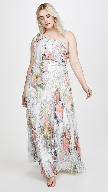 Marchesa Notte Плиссированное вечернее платье из шифона с открытым плечом