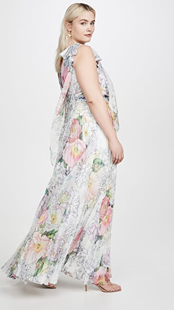 Marchesa Notte One Shoulder Chiffon Pleated Gown