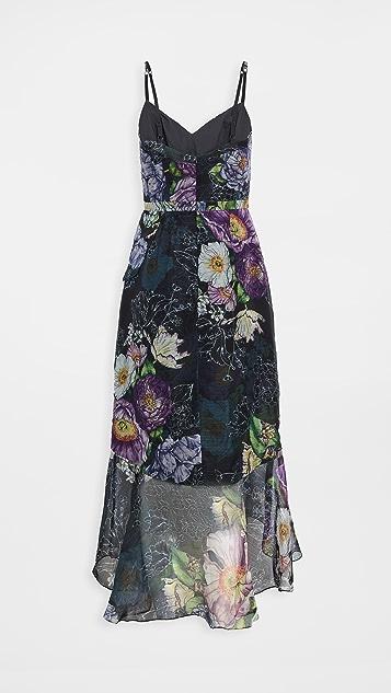 Marchesa Notte 层叠荷叶边高低不对称下摆中长连衣裙