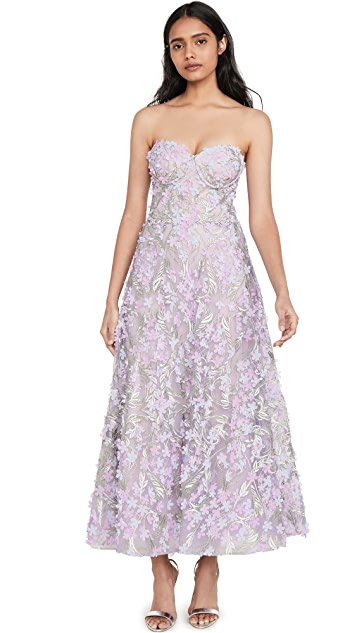 Marchesa Notte 3D Embroidered Strapless Tea Length Gown