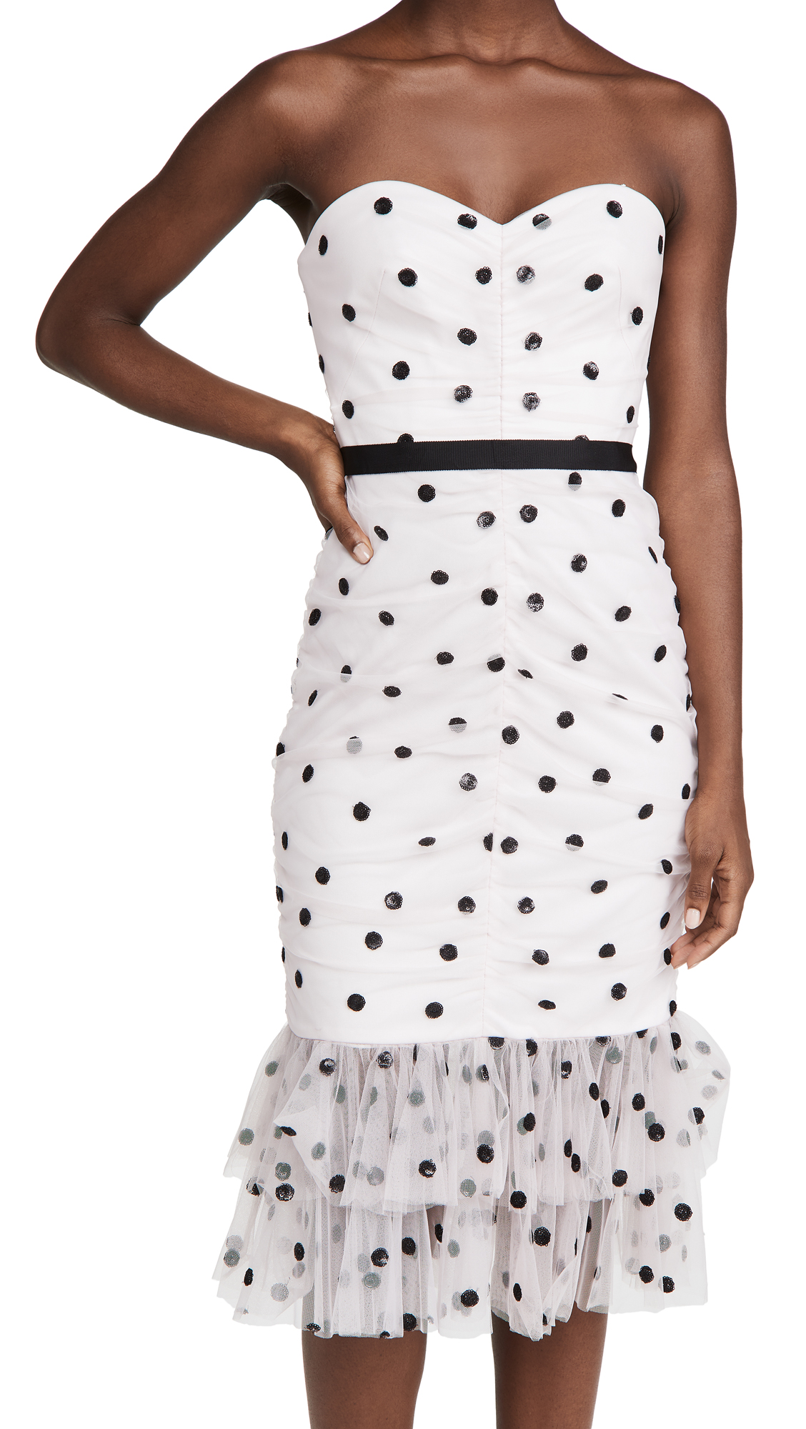 Marchesa Notte Sequin Dot Tulle Strapless Dress