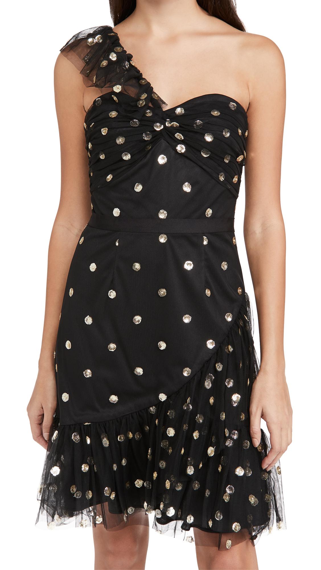 Marchesa Notte Sequin Dot Tulle One Shoulder Dress