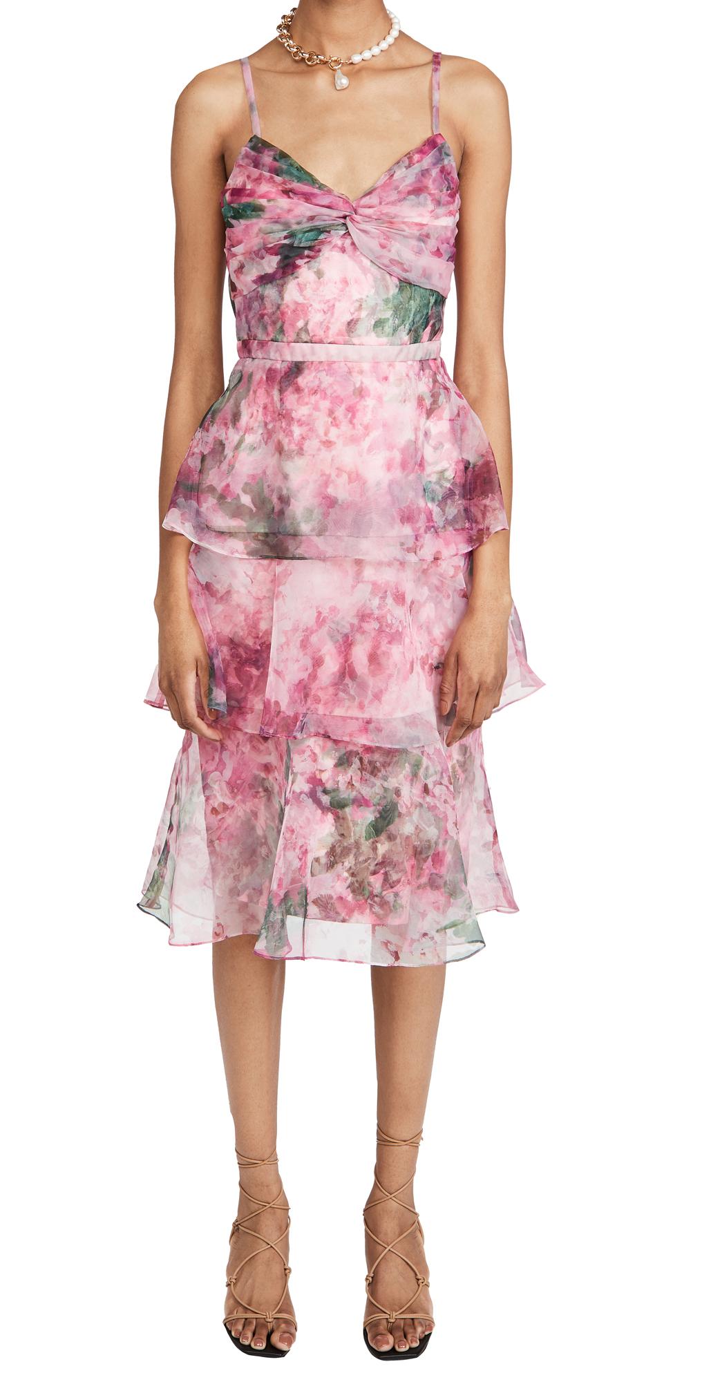 Marchesa Notte Sleeveless Floral Organza Tea Length Gown
