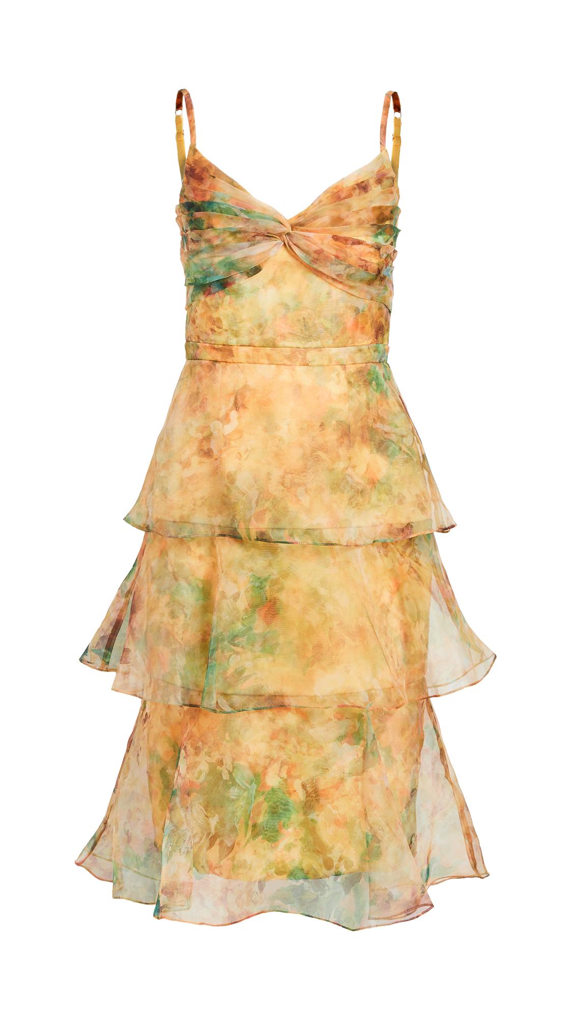 Marchesa Notte Sleeveless Printed Floral Organza Dress
