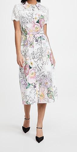 Marchesa Notte - Short Sleeve Collared Shirt Dress with Lace Yoke