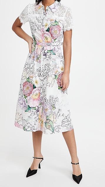 Marchesa Notte Short Sleeve Collared Shirt Dress with Lace Yoke